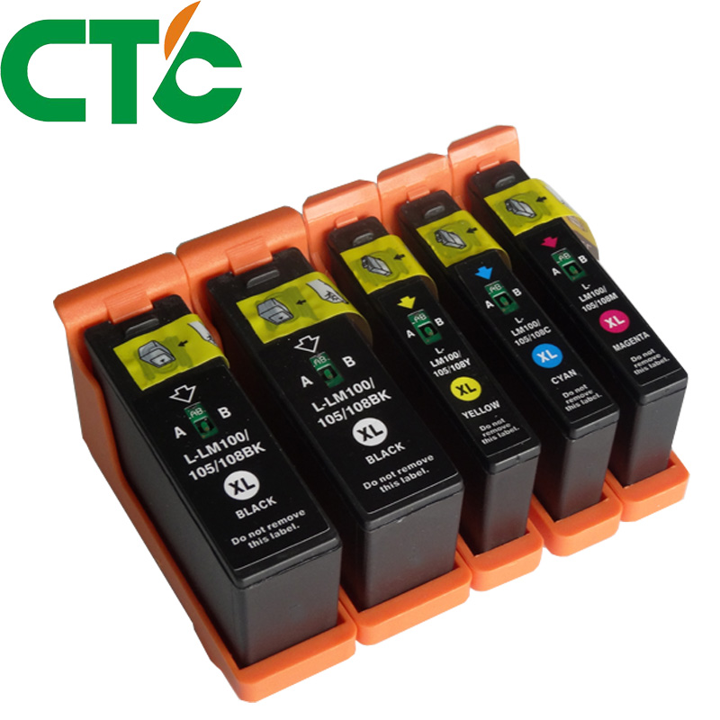 5 PCS Ink Cartridge 100 100XL LM100 105XL 108XL Compatible for Lexmark S305 S308 S405 S408 S505 S508 S605 S608