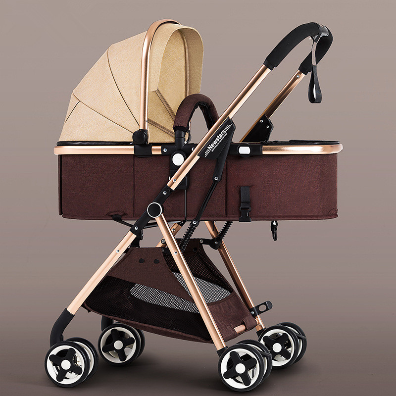 5.7Kg High Landscape Baby Stroller 3 In 1 Reversible Lightweight Shock Absorption Hot Mom Stroller Portable Luxury Pink Stroller