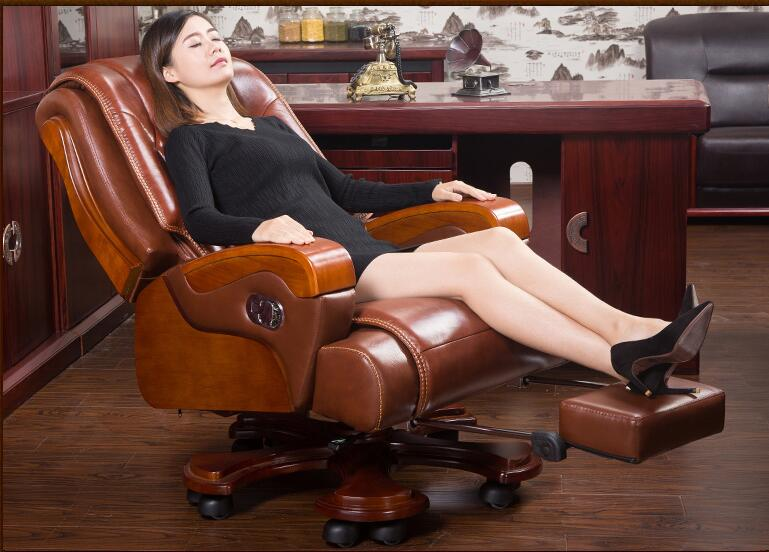 Solid Wood Executive Chair Leather Boss Chair Reclining Massage Office Chair Lift Swivel Chair Home Computer Chair.
