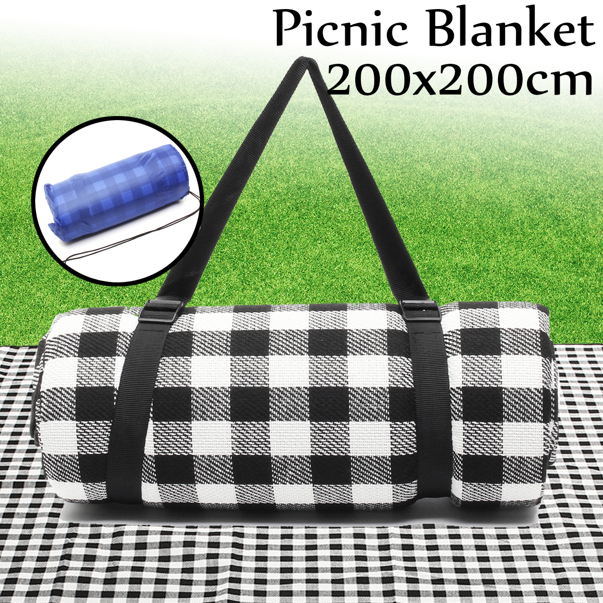 200X200cm Large Picnic Blanket Waterproof Rug Mat Baby Mat Foldable Outdoor Portable Camping Beach Mattress Black pastoral coral velvet large area rug