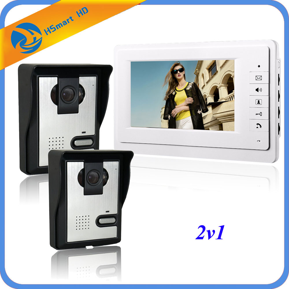7 inch Monitor Video Door Phone Intercom Doorbell 2PCS IR Waterproof Camera Video Intercom Home Door wired video intercom system brand new wired 7 inch color video door phone intercom doorbell system 1 monitor 1 waterproof outdoor camera in stock free ship