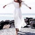 Vestidos 2016 mulheres sexy lace patchwork maxi vestido longo das senhoras flare manga barra pescoço fora do ombro praia vestidos de festa branco