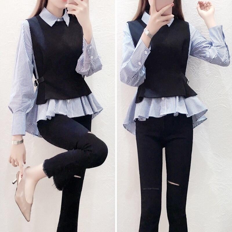 Female Patchwork Shirt Womens Tops Office Blouse Fake Collar ladies Blue Stripe Slim Casual Autumn Warm Shirts  Long Sleeve 2PC