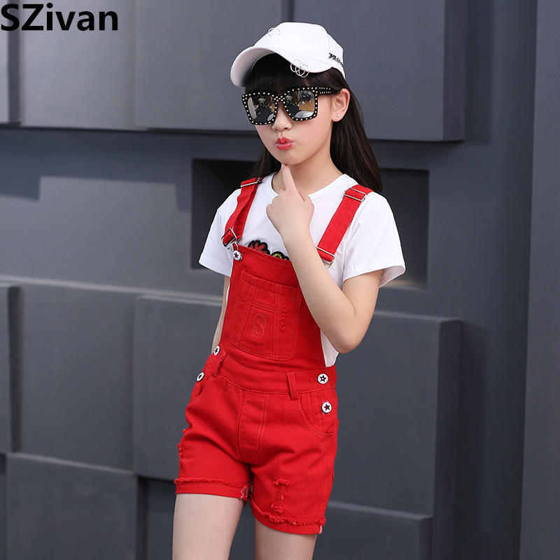 Meisjesjeans Denim overall shorts voor vrouwelijke studenten kind - Kinderkleding - Foto 1