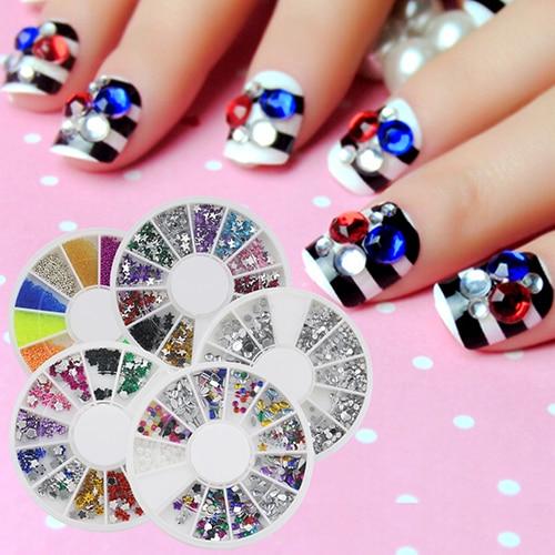 2016 New 20 Pcs Nail Art Tips 3D Fruit Flower Star Glitters DIY Decoration Sticker Wheels 4RT