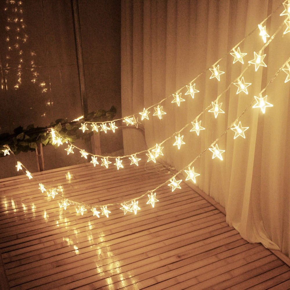 3m stars warm white led fairy curtain string light wedding for Star decorations for home