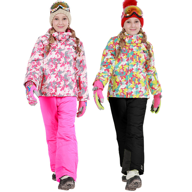 2019 Winter Ski Suit For Girls Fleece Hooded Kids Snow Sets Jacket Overalls Windproof Outdoor Sport Children Clothing Sets