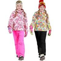 2019 Winter Ski Suit for Girls Fleece Hooded Kids Snow Sets Jacket Overalls Windproof Outdoor Sport Children Clothing Sets