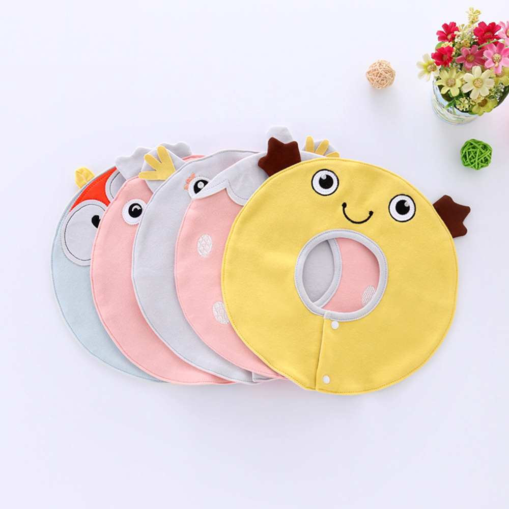 2 Layers Solid Baby Bib Washable Newborn Feeding Bibs Cloth Burps Infant Slobber Saliva Towels Buttons Cloth Burps P10