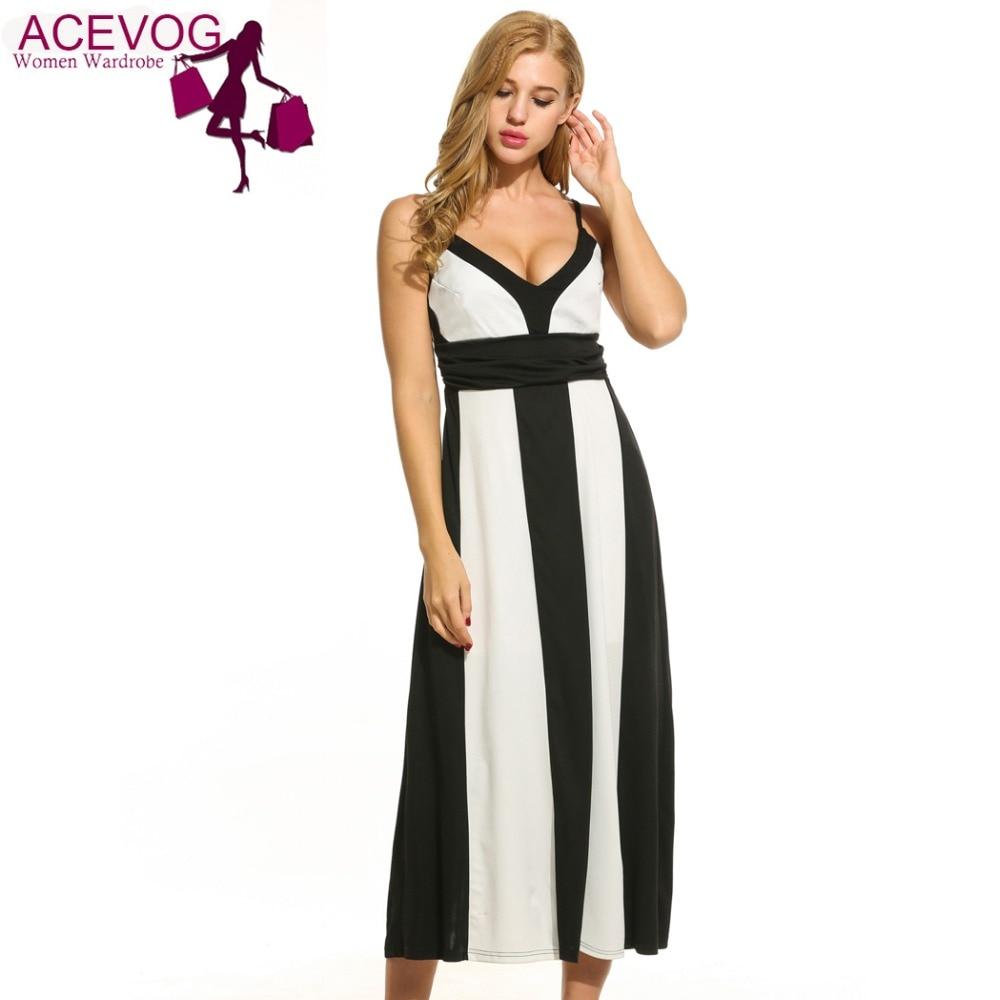 ACEVOG 2017 Mid-Calf Maxi Dres Women Casual V-Neck Sleeveless Spaghetti Strap Loose Patchwork Dress 2 Colors S/M/L/XL
