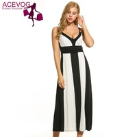 ACEVOG 2017 Mid Calf Maxi Dres Women Casual V Neck Sleeveless Spaghetti Strap Loose Patchwork Dress