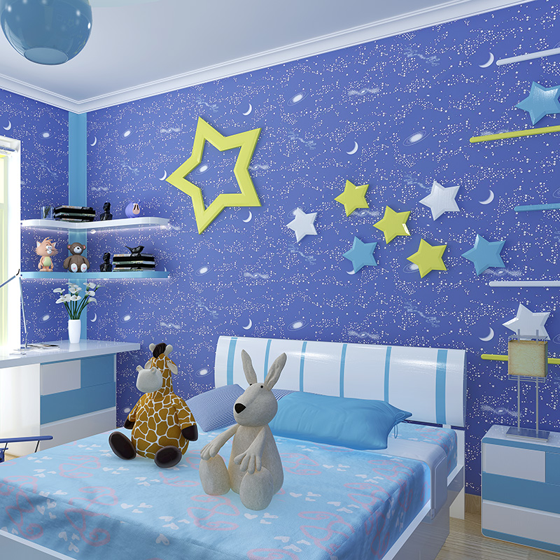 Us 34 72 26 Off Blue Texture Wallpaper Luminous Stars Moon For Children Baby Room Fluorescent Wall Paper Wallcoverings In Wallpapers From Home