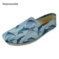 Nopersonality Blue Sea Dolphin Print Canvas Loafers Comfortable Flats for Women Cute Female Spring Autumn Flats Breathable