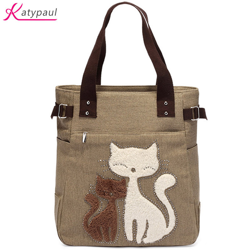 Cat Bolsa Feminina Bag Vintage Canvas Handbags Messenger Handbag Shoulder Bag