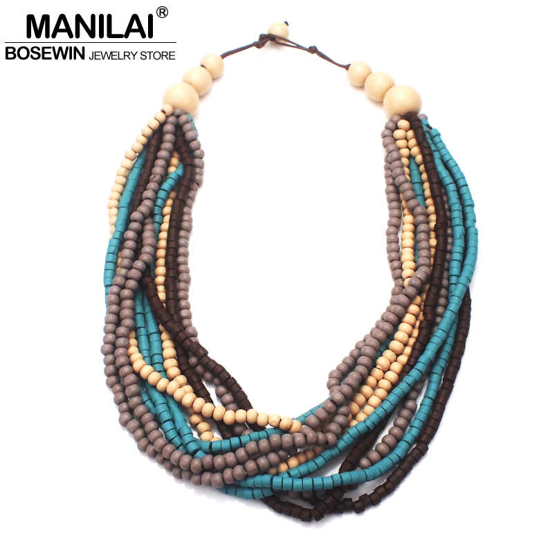 MANILAI Bohemia Multilayer Wood Beaded Necklace Woman Fashion Handmade Multicolor Bead Statement Chokers Necklace Jewelry Wooden