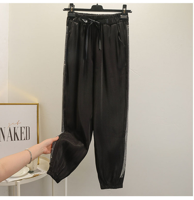 Hot drilling Harlan nine points copper ammonia pants women elastic waist casual loose feet