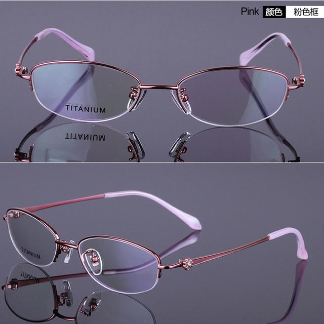 Mulheres armações de óculos meia óculos sem aro titanium coréia marca miopia espetáculo de quadros moda eyewear frames oculos de grau rs-920
