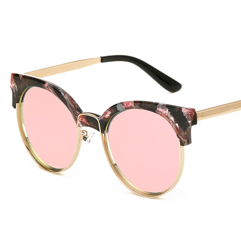 F.J4Z Top Quality Trendy Women's Sunglasses Semi Alloy Frame Designer Coating Mirrors Cat Eye Glasses Shades UV 400