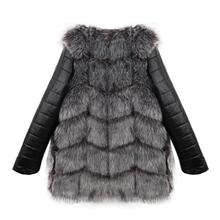 2017 jacket Women Winter High imitation fox fur coat pu sleeve long