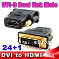 DVI-D Dual link Мужской 24 + 1 контактный разъем для HDMI Женский 19 pin Адаптер HDMI на DVI Разъем Золото для HDTV PC LCD для XBOX 360 для PS3