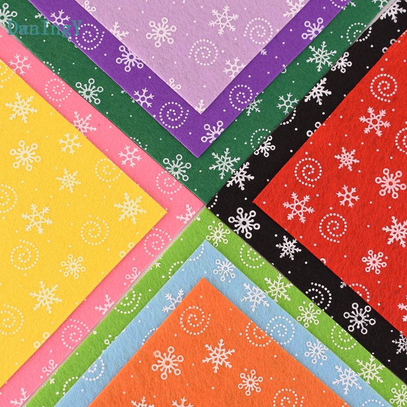 DwaIngY Printed snowflake Non Woven <font><b>Felt</b></font> Fabric <font><b>1mm</b></font> Thickness Polyester Cloth Sewing Dolls Crafts Home Decoration Pattern 15x15c image