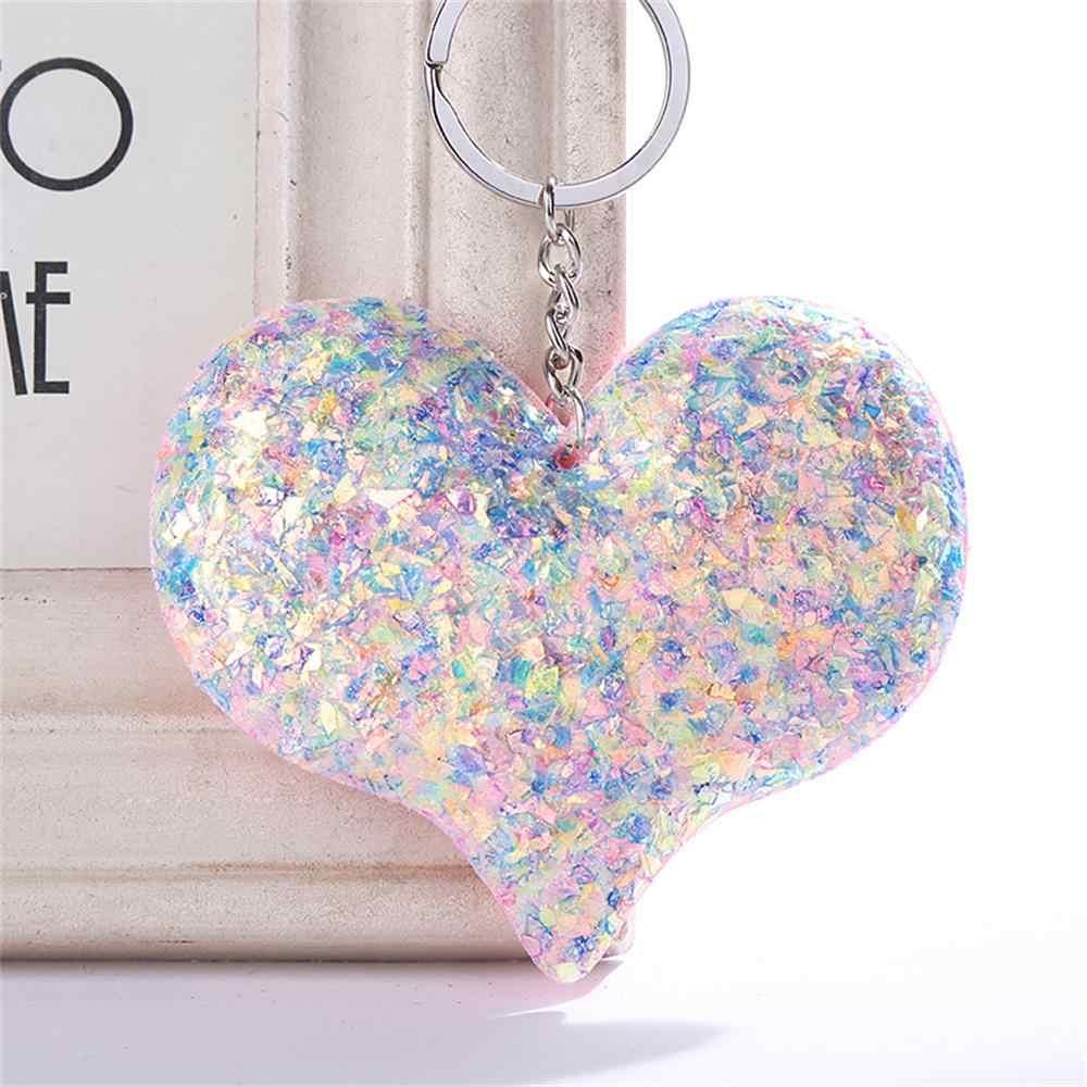 Lentejuelas amor llavero brillante reflectante pareja de dibujos animados llavero personalidad accesorios en forma de corazón coche llaves colgante joyería