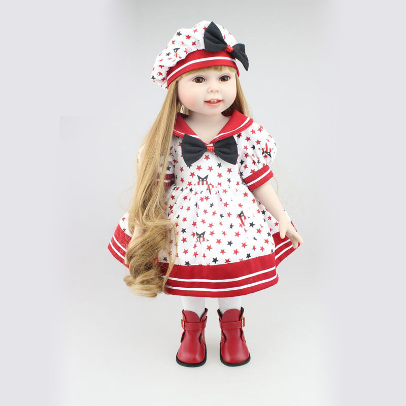 NPK 8 inch New Handmade Full Vinyl American Girl Doll With Pretty Clothes Full Silicone Reborn Dolls Toy For Kid Doll Brinquedos american girl doll clothes 4 styles elsa blue lace princess dress doll clothes for 16 18 inch dolls baby doll accessories x 2