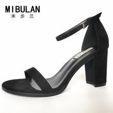 2018 spring and summer new exposed toe thick with sandals word buckle simple solid wild wild star style female shoes 7.5cm heel
