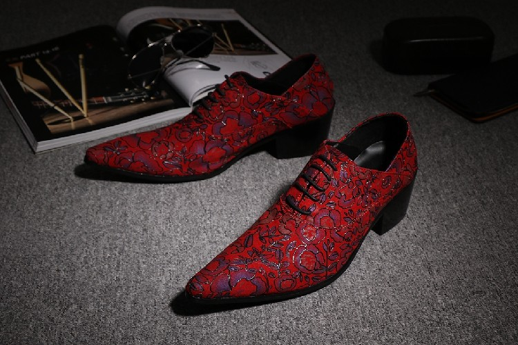 CH.KWOK Red Handmade Leather Mens Designer Dress Shoes Pointed Toe Men Lace Up Oxford Heels Shoes Florals Wedding Formal Oxfords men all over florals shirt