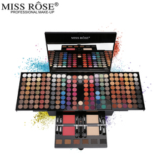 Miss Rose Professional Eye Makeup 180 Color Matte & Shimmer Eyeshadow Palette Full Color Eye Shadow Make Up Kit free shipping miss rose hexagon hand make up case makeup set of matte shimmer eye shadow blush powder eyebrow concealer lipgloss