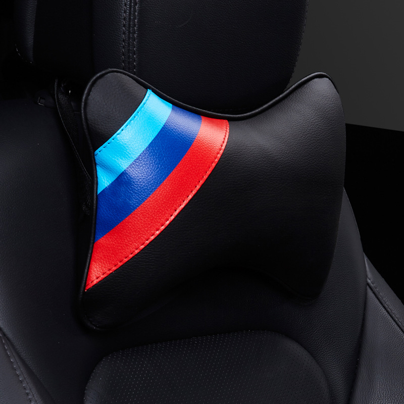 Universal Car Seat Neck Pillow Memory Headrest Pillow M Flag for BMW Three Primary Colors PP Cartoon Bone Leather Comfortable