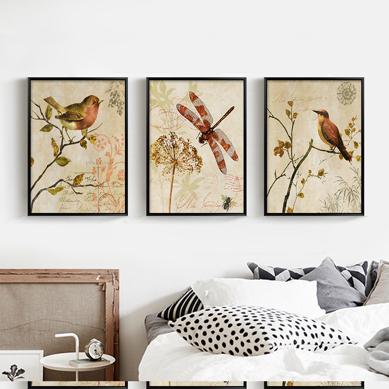 HAOCHU Triptych American Vintage Watercolor Birds On Tree Canvas Painting Art Print Poster Animal Wall Picture Home Decor