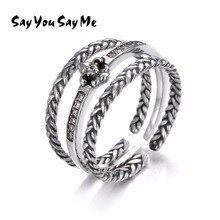 3 unids 925 plata esterlina de moda dedo par Anillos dicen que usted dice me Sets Royal vintage tejido tipo ZIRCON flor anillos joyería