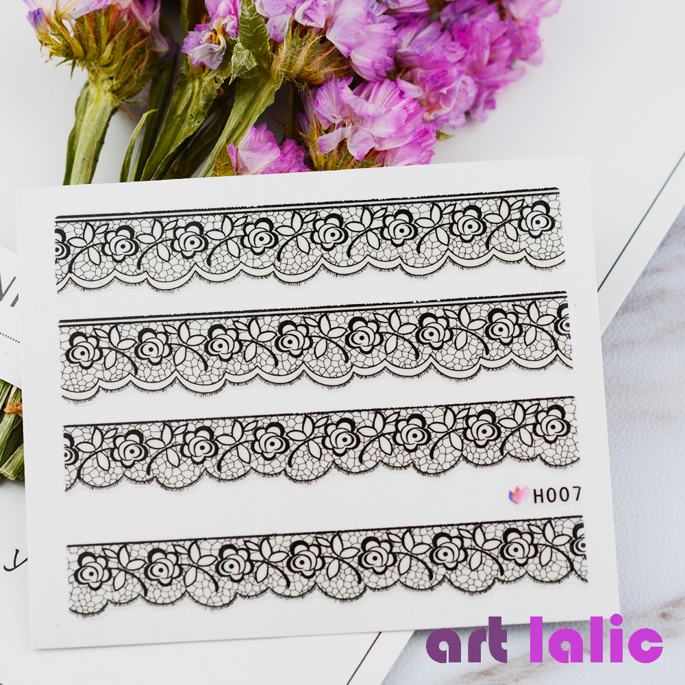 Hot Selling New 3D Black Lace Flower Design Nail Art Stickers Decals For Nail Tips Decoration Tool цены