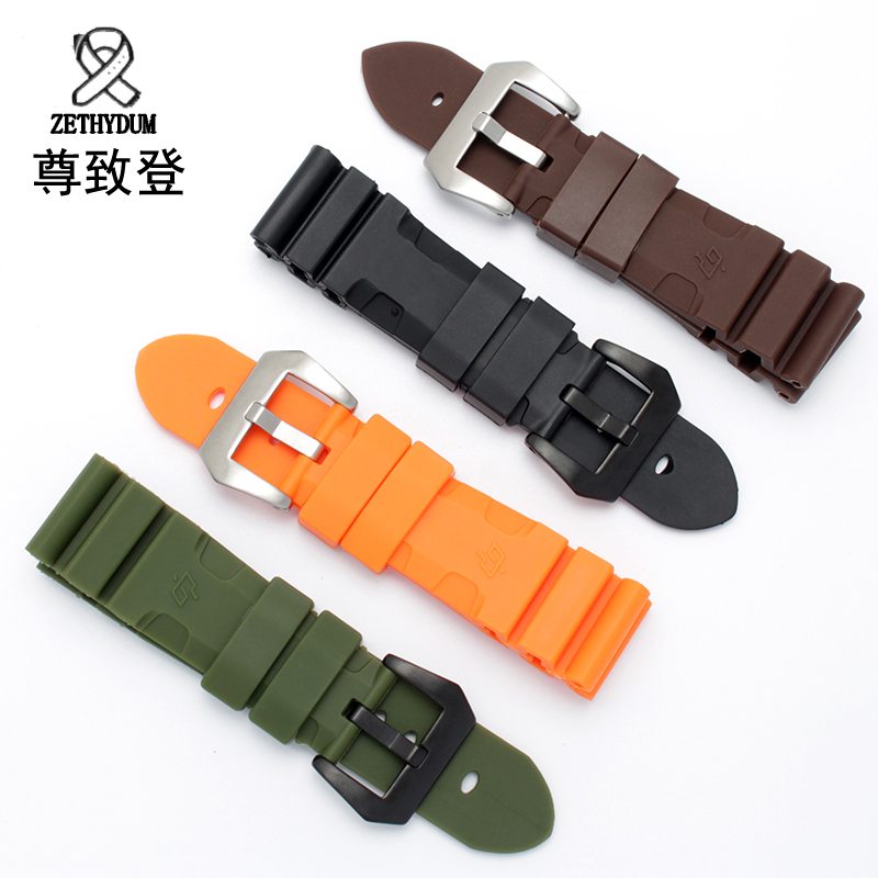 New black orange silicone watchband 24mm 26mm quality replacement rubber strap waterproof bracelet lukeni 24mm camo gray green blue yellow silicone rubber strap for panerai pam pam111 watchband bracelet can with or without logo