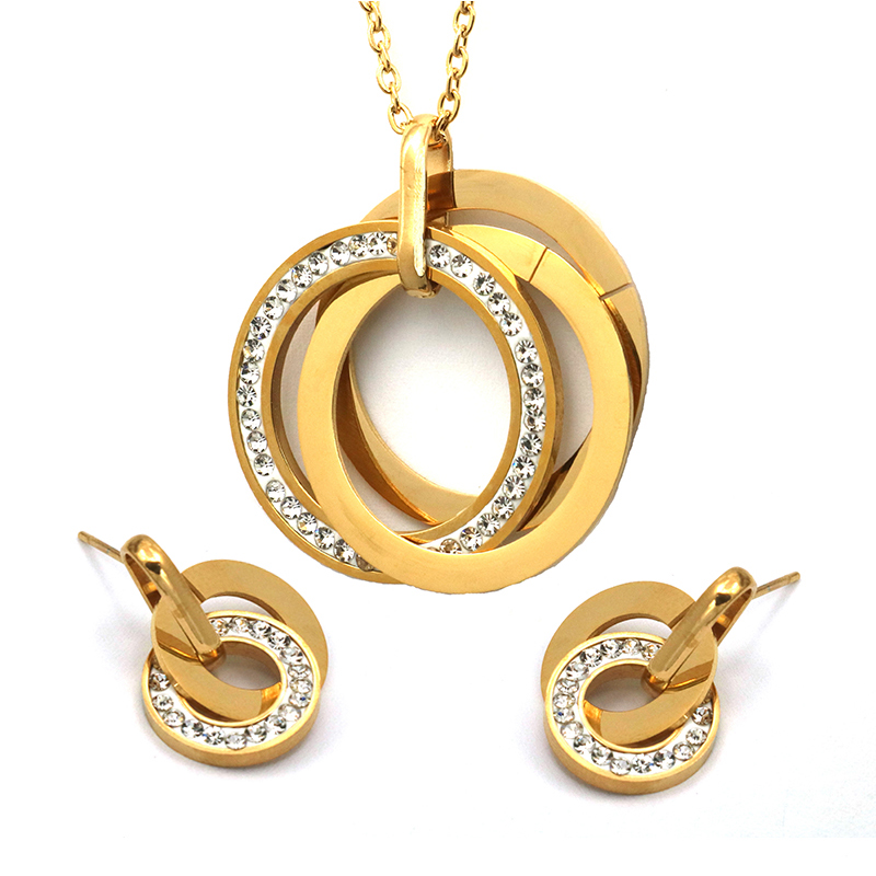 Round Crystal Necklace With...