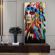 Pop Art Indian Girl Canvas Wall Paintings Watercolor Woman With Feather Posters And Prints For Living Room Decor