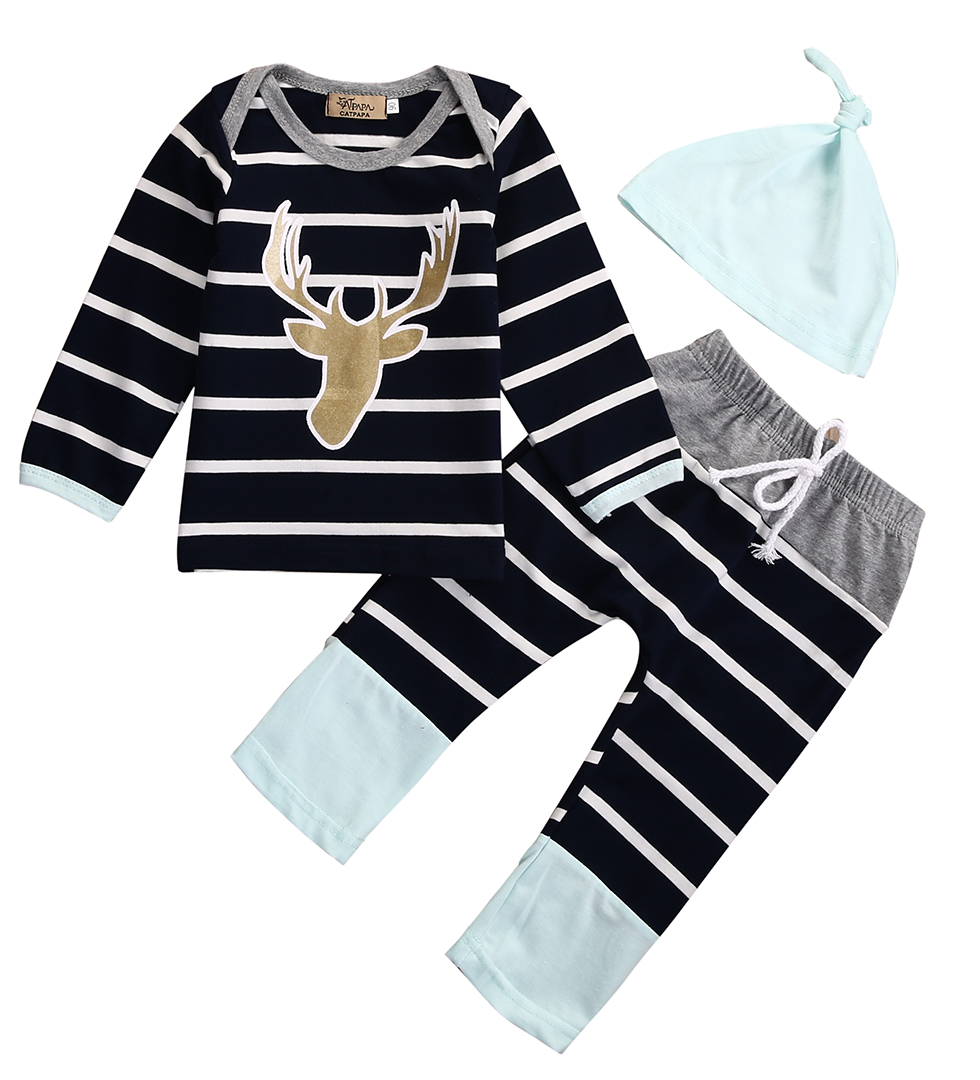 Newborn Baby Boy Girl Long Sleeve Tops +Long Pants Hat 3PCS Outfits Set Clothes 0-18 Months Boys clothes blue striped 3pcs sets 2pcs newborn baby boys clothes set gold letter mamas boy outfit t shirt pants kids autumn long sleeve tops baby boy clothes set