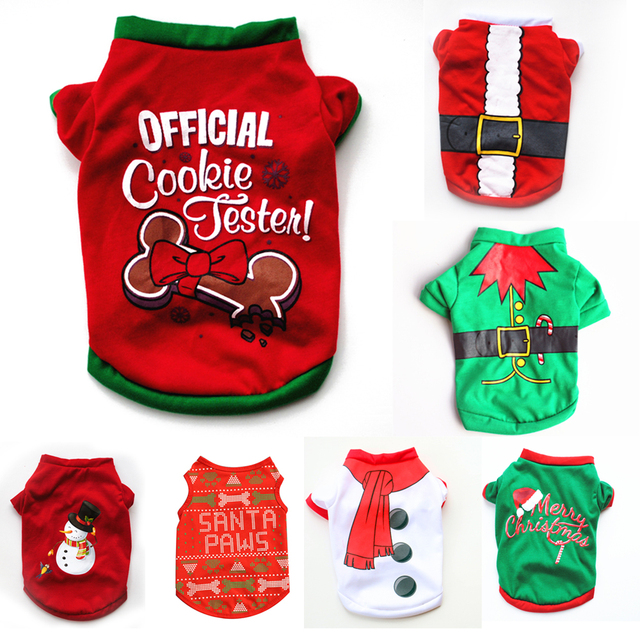 XS/S/M/L Pet Dog Clothes Christmas Costume Cute Cartoon Clothes For Small Dog Cloth Costume Dress Xmas apparel for Kitty Dogs