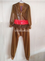 Latex Rubber Gummi Women Fashion Jacket And Pants Suit Coffee And Pink XXS XXL