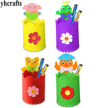 24PCS LOT DIY new animal fabric pen holders craft kits Kindergarten crafts Felt crafts Novelty stationey