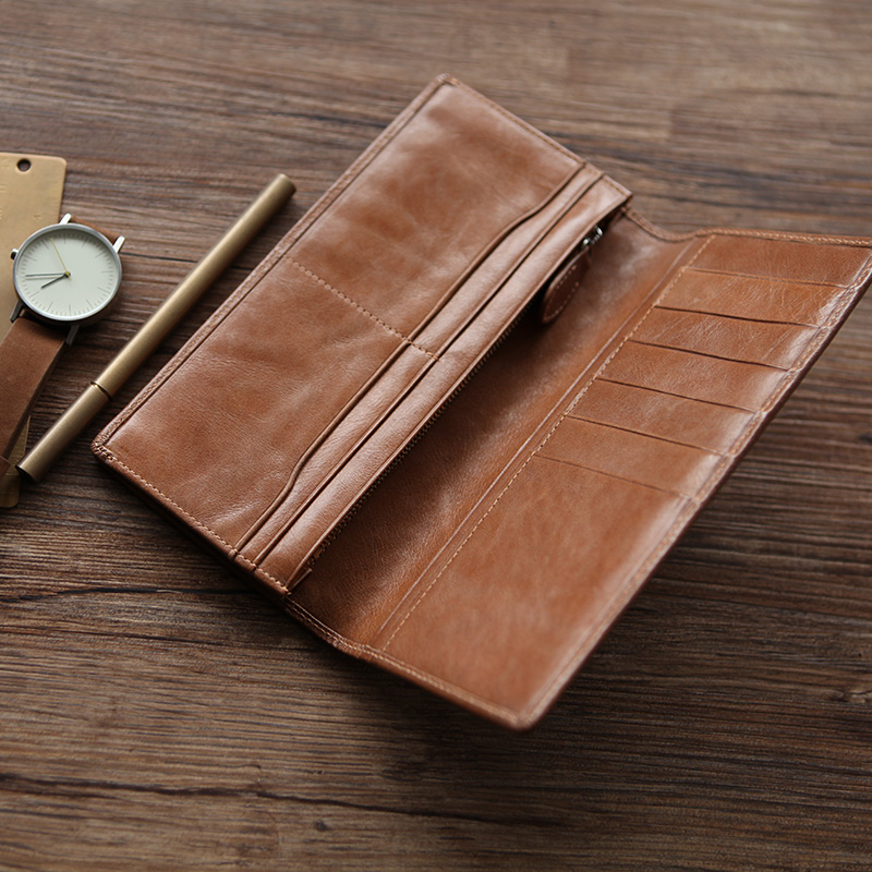 LANSPACE genuine leather men wallets  woven wallet men famous brand wallet case
