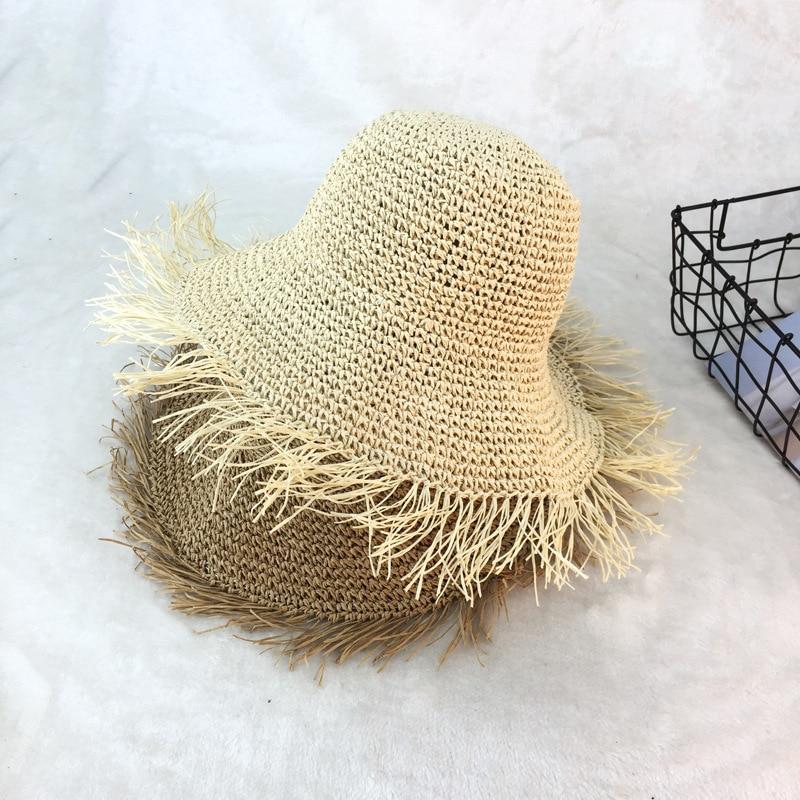 01806-duxiao4182 summer handmade folding Beach tassel paper straw bucket cap women lady sunscreen fishermen hat wholesale