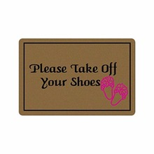 Please Take Off Your Shoes Door Mat with Red slippers pattern Rubber Non-Slip Entrance Rug Floor  Doormat 30 x 18 Inches