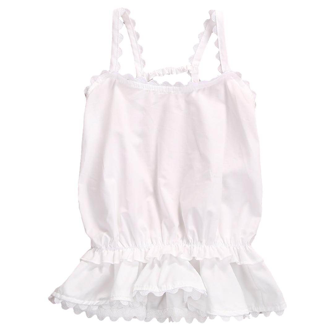 Helen115 Cute Summer Baby Girl Halter Ruffles Lace Leak Back Sleeveless White T-shirt 0-24M