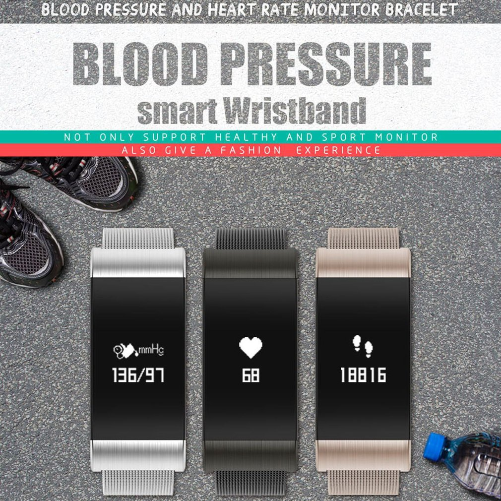 A66 Smart Bracelet Heart Rate Monitor Blood Pressure Blood Oxygen Bluetooth 4.0 Smart band Waterproof Wristband Passometer Watch