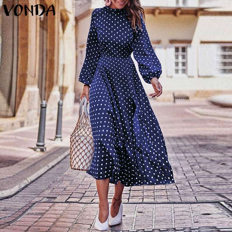 2019 Autumn Dress VONDA Dot Printed Vintage Overalls Summer Dress Beach Vestidos Womens Evening Party Robe Femme Sexy Sundress  Платье