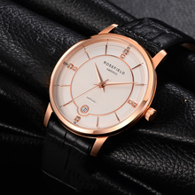 2017 Women Watch Top Fashion Brand Female Clock Gold Case Calendar Display Real Leather Strap Waterproof Wristwatches Hot Sale