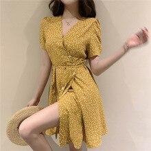 купить Yellow Print High Quality Dress Elegant Casual Summer Sexy Slim Women Dress Fashion V-Neck Knee-Length Brand Clothing Autumn по цене 1638.05 рублей