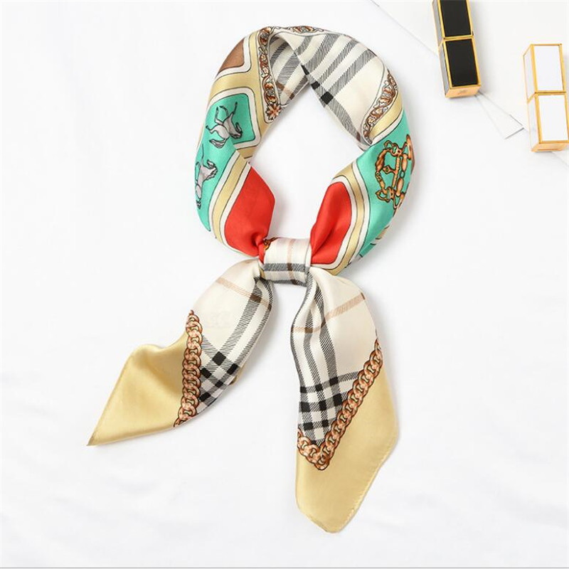 New Silk   Scarf   70*70 New Fashion Romantic Plaids Prints Women Shawl Satin Small Squares Head Bag Decorative   Scarves     Wraps   Tie